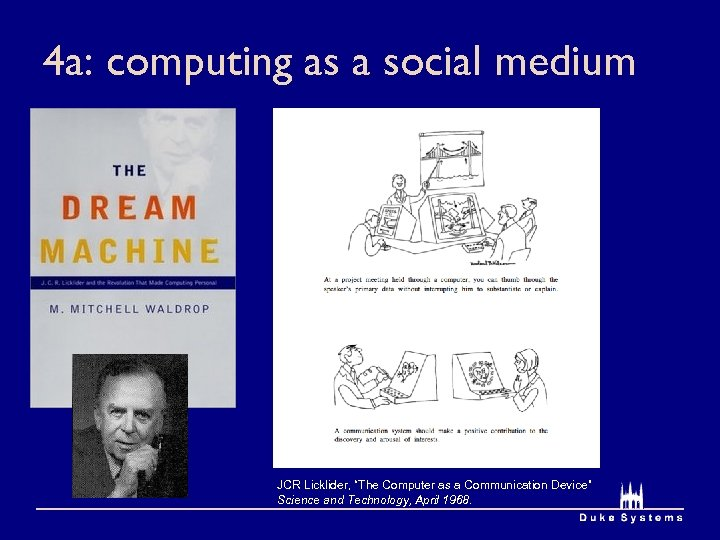 "4 a: computing as a social medium JCR Licklider, ""The Computer as a Communication"