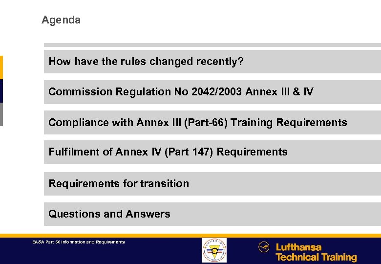Agenda How have the rules changed recently? Commission Regulation No 2042/2003 Annex III &