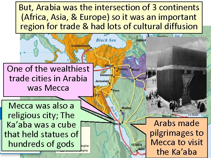 But, Arabia was the intersection of 3 continents Arabia, the Birthplace of Islam (Africa,