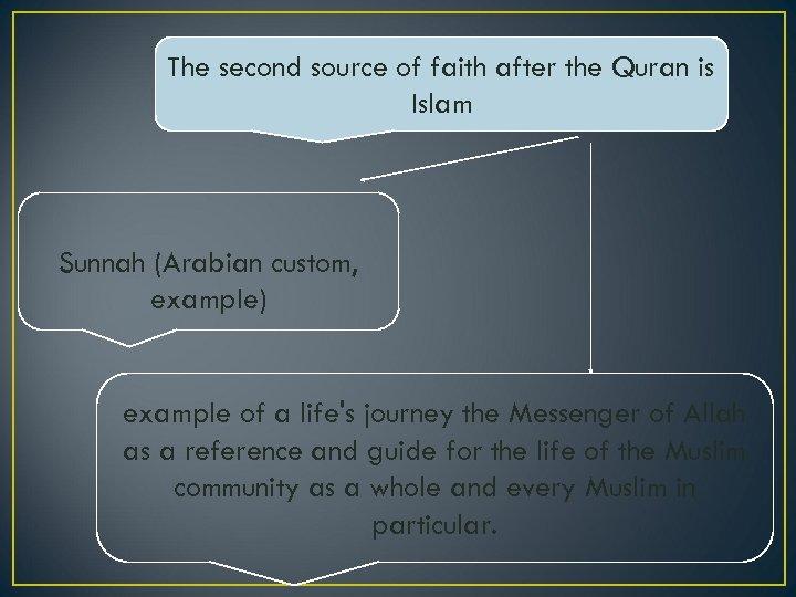 The second source of faith after the Quran is Islam Sunnah (Arabian custom, example)