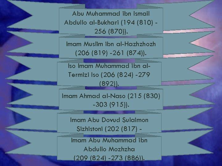 Abu Muhammad ibn Ismail Abdullo al-Bukhari (194 (810) 256 (870)). Imam Muslim ibn al-Hazhzhozh