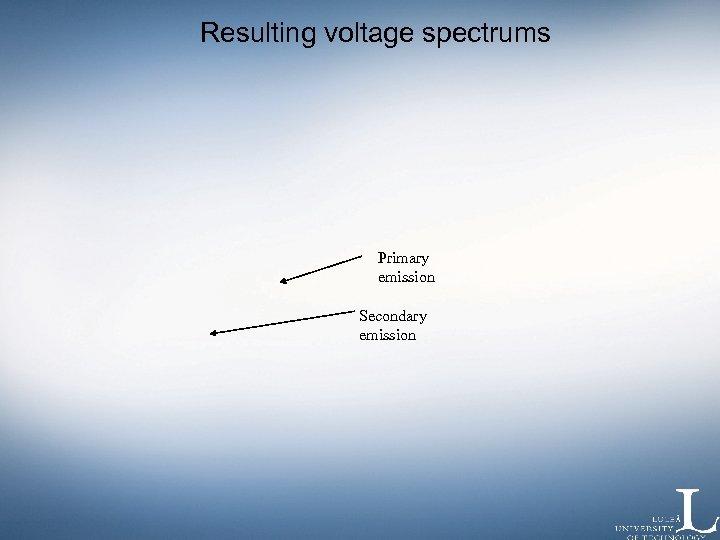 Resulting voltage spectrums Primary emission Secondary emission
