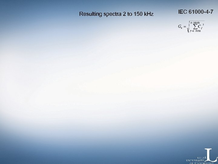 Resulting spectra 2 to 150 k. Hz IEC 61000 -4 -7