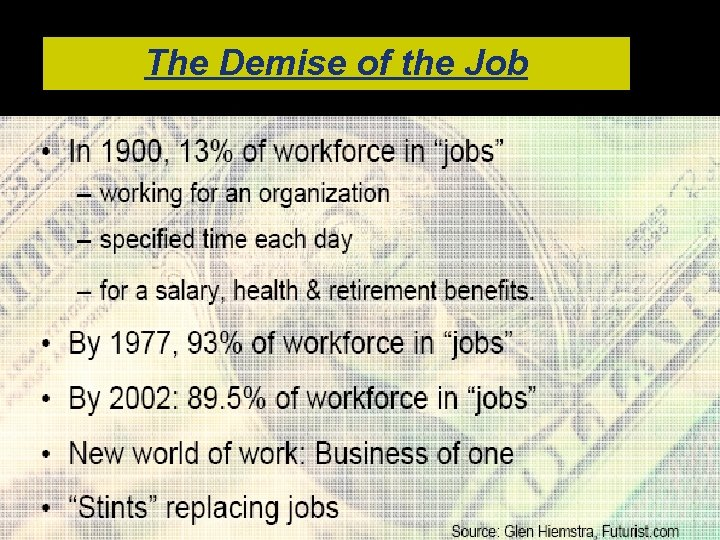 The Demise of the Job