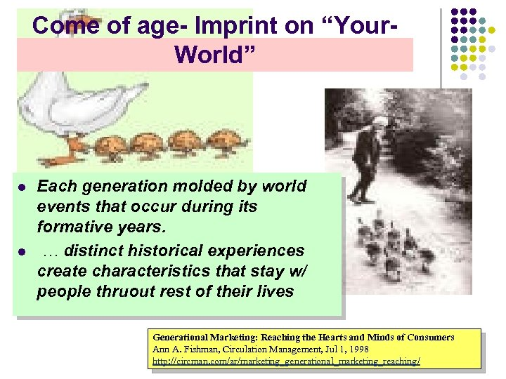 """Come of age- Imprint on """"Your. World"""" l l Each generation molded by world"""
