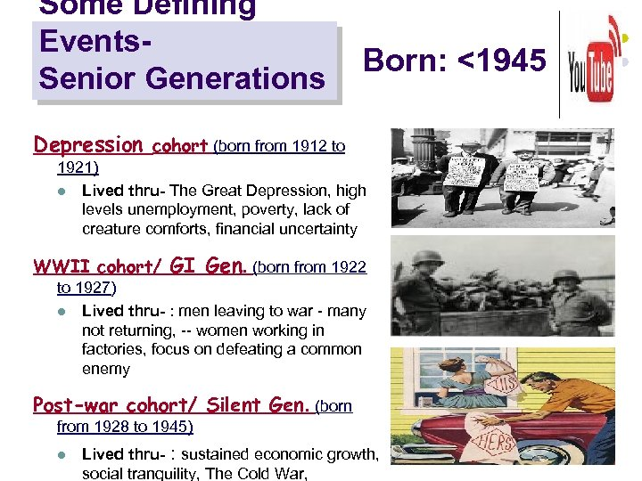 Some Defining Events. Senior Generations Born: <1945 Depression cohort (born from 1912 to 1921)