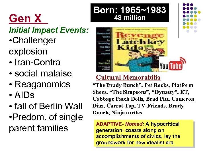 Gen X Born: 1965~1983 48 million Initial Impact Events: • Challenger explosion • Iran-Contra