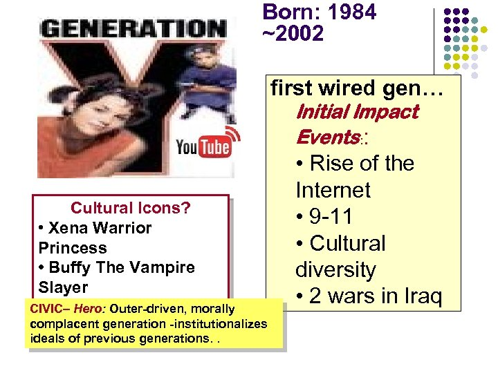 Born: 1984 ~2002 first wired gen… Initial Impact Events: : Cultural Icons? • Xena