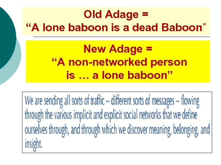 """Old Adage = """"A lone baboon is a dead Baboon"""" New Adage = """"A"""