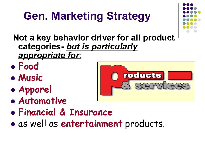 Gen. Marketing Strategy Not a key behavior driver for all product categories- but is