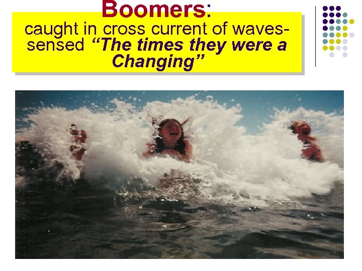 """Boomers: caught in cross current of waves- sensed """"The times they were a Changing"""""""