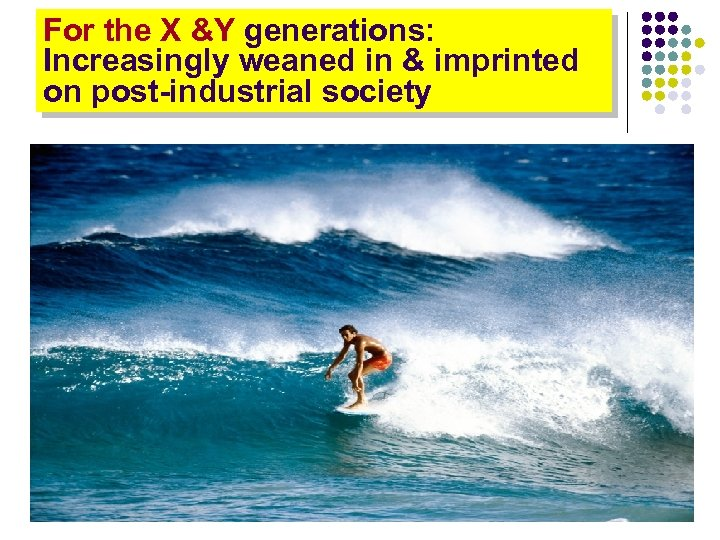 For the X &Y generations: Increasingly weaned in & imprinted on post-industrial society