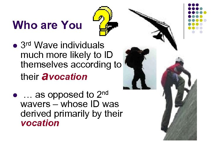 Who are You l 3 rd Wave individuals much more likely to ID themselves