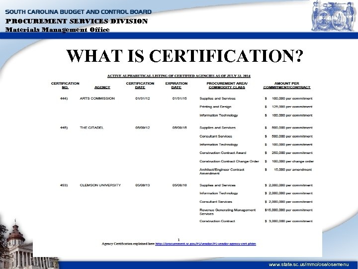 PROCUREMENT SERVICES DIVISION Materials Management Office WHAT IS CERTIFICATION? www. state. sc. us/mmo/osemenu
