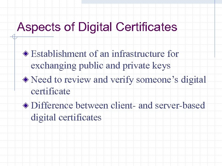 Aspects of Digital Certificates Establishment of an infrastructure for exchanging public and private keys