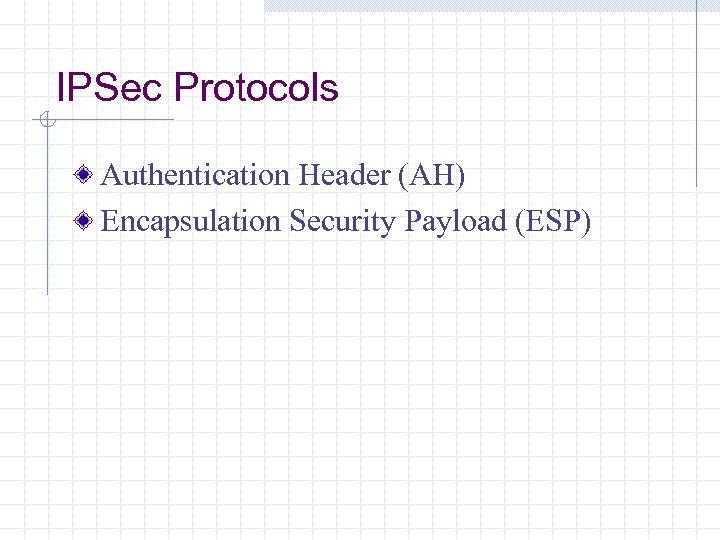 IPSec Protocols Authentication Header (AH) Encapsulation Security Payload (ESP)