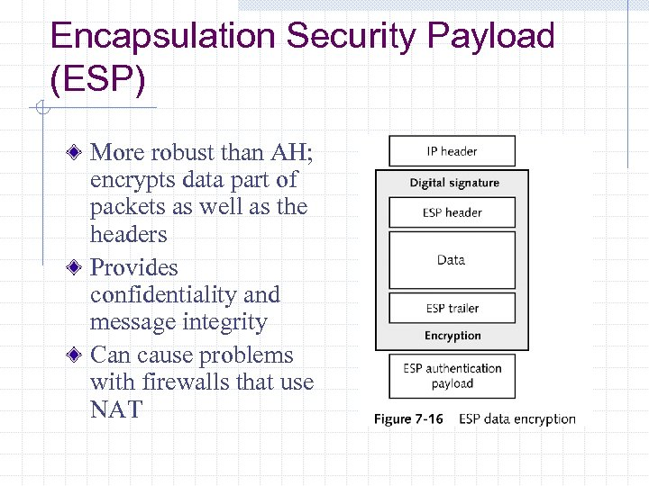 Encapsulation Security Payload (ESP) More robust than AH; encrypts data part of packets as