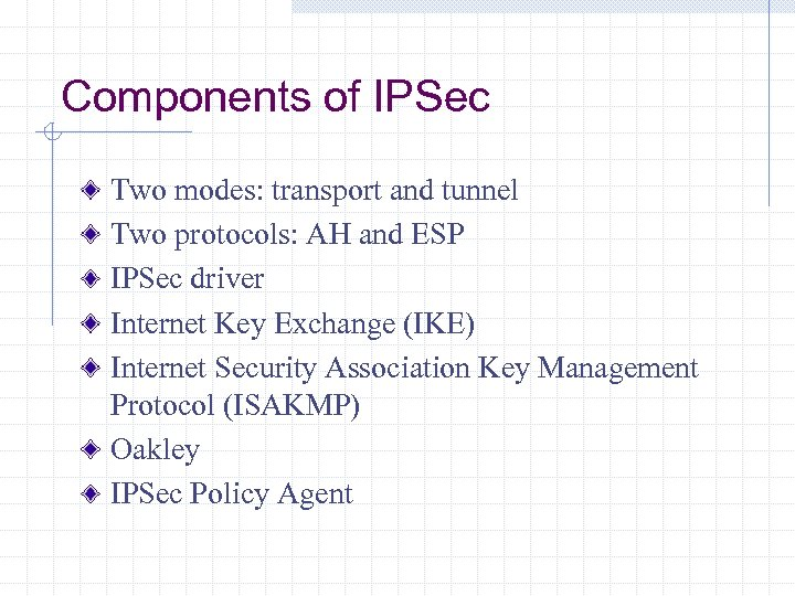 Components of IPSec Two modes: transport and tunnel Two protocols: AH and ESP IPSec