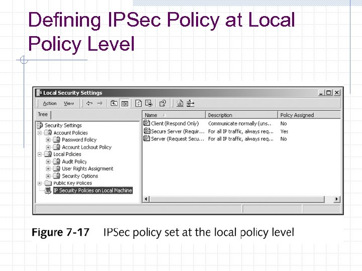 Defining IPSec Policy at Local Policy Level