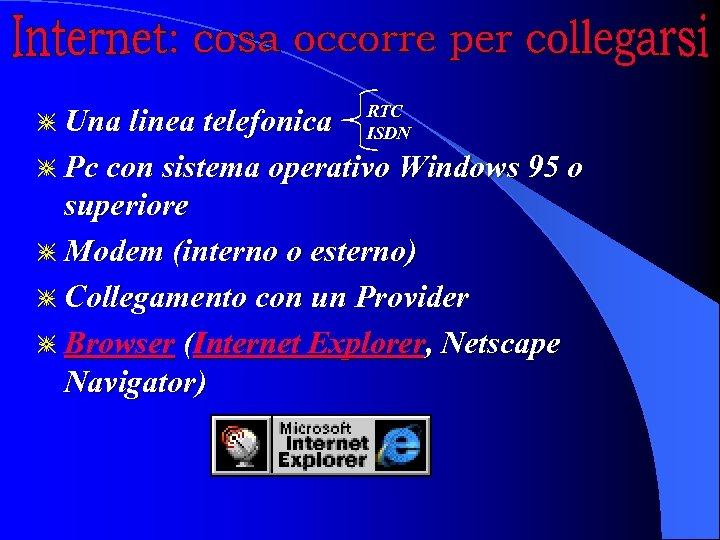 g Una linea telefonica RTC ISDN g Pc con sistema operativo Windows 95 o