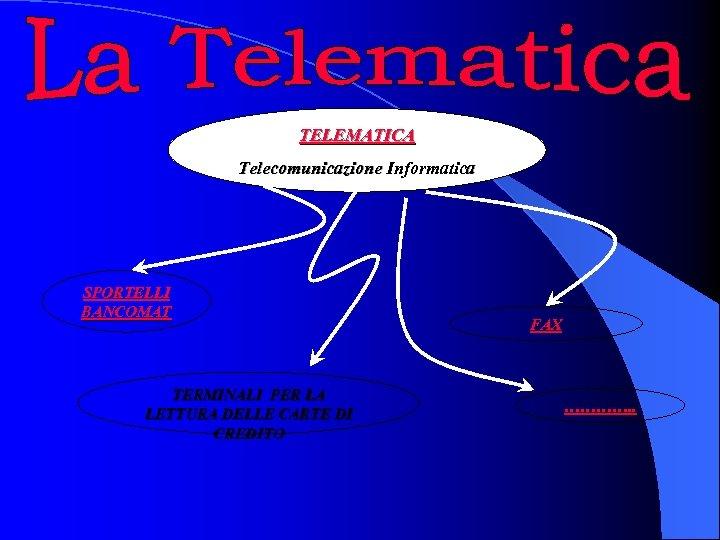 TELEMATICA Telecomunicazione Informatica SPORTELLI BANCOMAT TERMINALI PER LA LETTURA DELLE CARTE DI CREDITO FAX