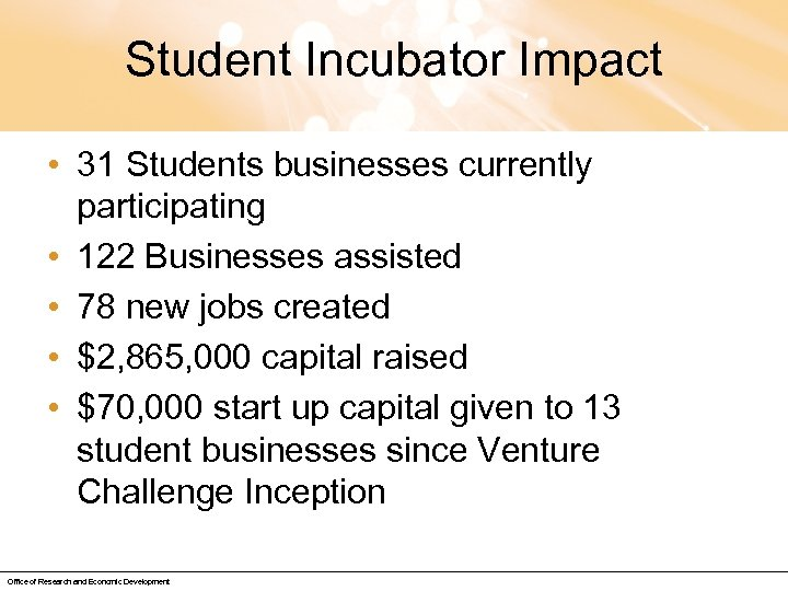 Student Incubator Impact • 31 Students businesses currently participating • 122 Businesses assisted •