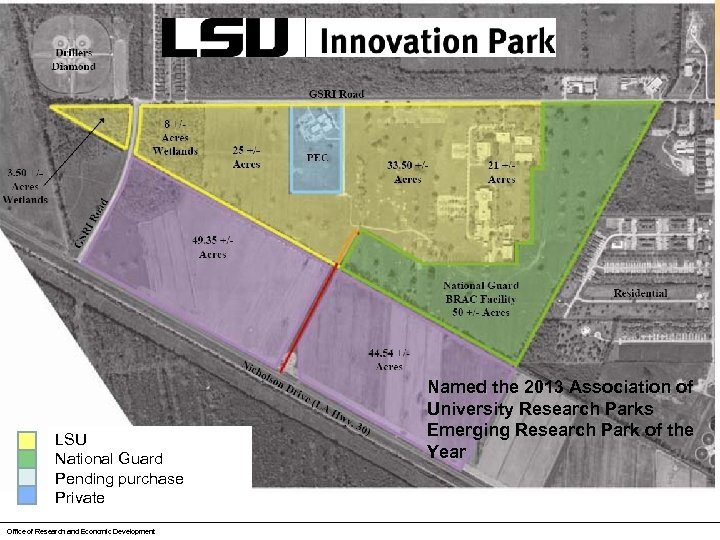 LSU National Guard Pending purchase Private Office of Research and Economic Development Named the