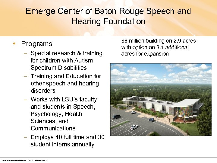 Emerge Center of Baton Rouge Speech and Hearing Foundation • Programs – Special research