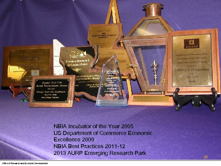 NBIA Incubator of the Year 2005 US Department of Commerce Economic Excellence 2009 NBIA
