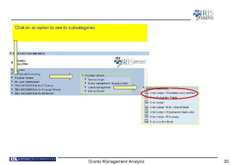 Click on an option to see its subcategories. Grants Management Analysis 30