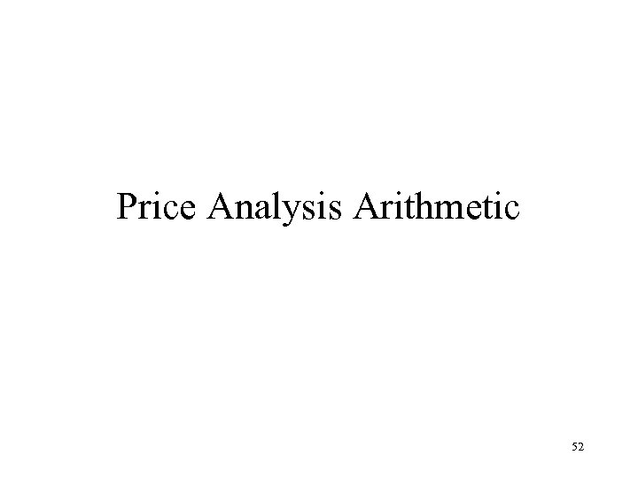 Price Analysis Arithmetic 52