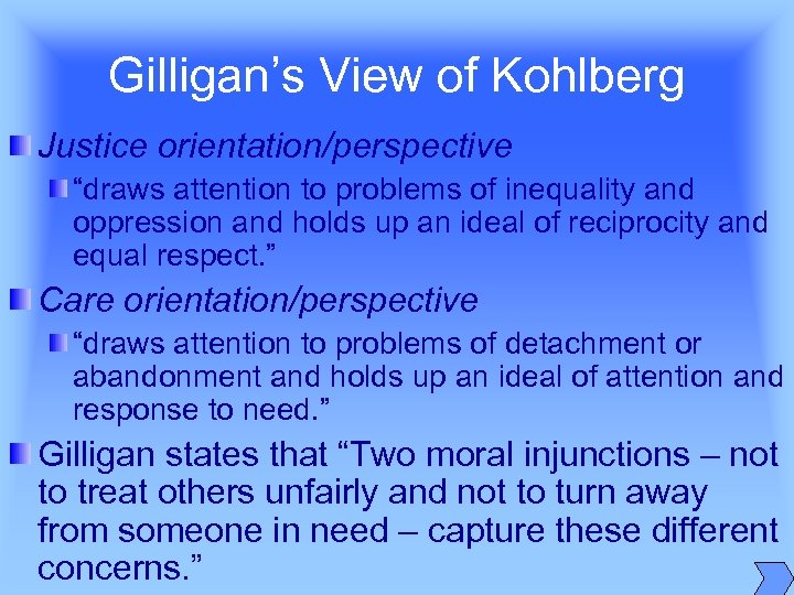 "Gilligan's View of Kohlberg Justice orientation/perspective ""draws attention to problems of inequality and oppression"