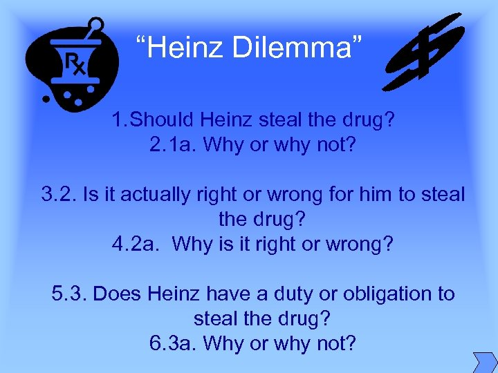 """Heinz Dilemma"" 1. Should Heinz steal the drug? 2. 1 a. Why or why"