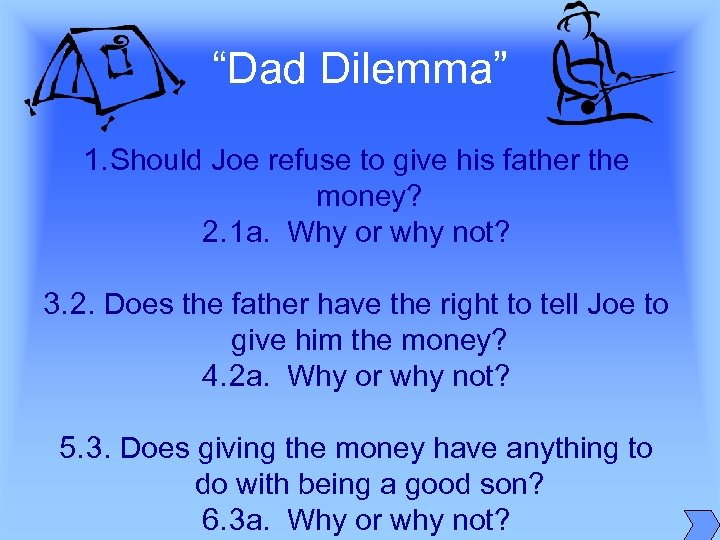 """Dad Dilemma"" 1. Should Joe refuse to give his father the money? 2. 1"