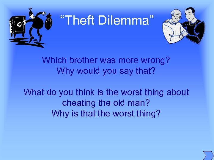 """Theft Dilemma"" Which brother was more wrong? Why would you say that? What do"