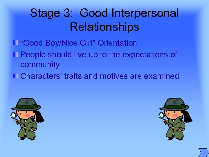 "Stage 3: Good Interpersonal Relationships ""Good Boy/Nice Girl"" Orientation People should live up to"