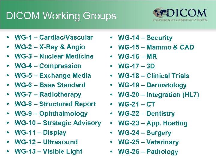 DICOM Working Groups • • • • WG-1 – Cardiac/Vascular WG-2 – X-Ray &