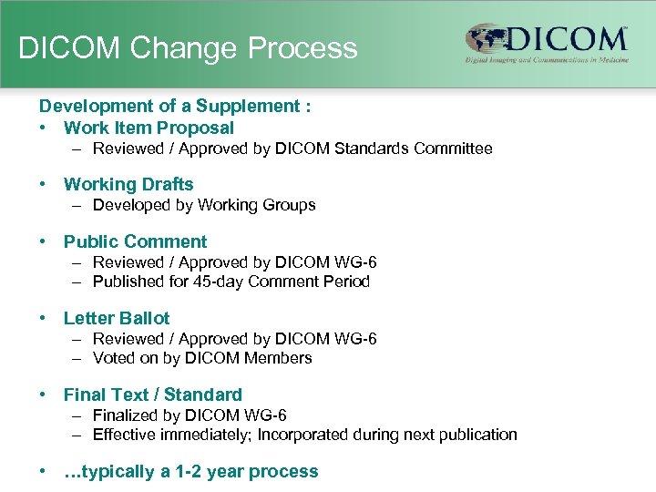 DICOM Change Process Development of a Supplement : • Work Item Proposal – Reviewed
