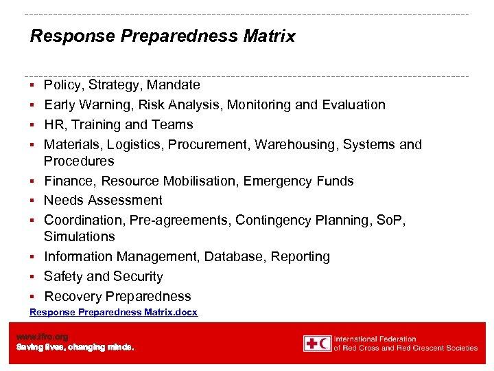Response Preparedness Matrix § § § § § Policy, Strategy, Mandate Early Warning, Risk