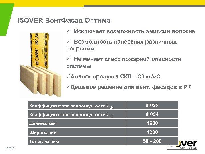 ISOVER Вент. Фасад Оптима ü Исключает возможность эмиссии волокна ü Возможность нанесения различных покрытий