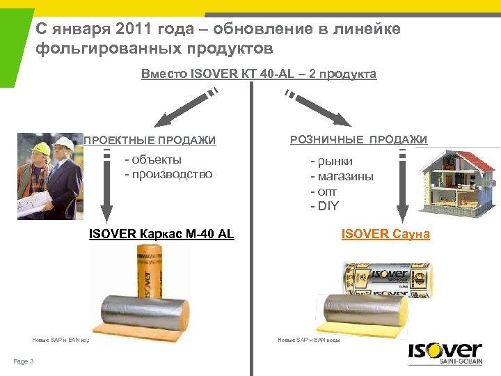 С января 2011 года – обновление в линейке фольгированных продуктов Вместо ISOVER КТ 40