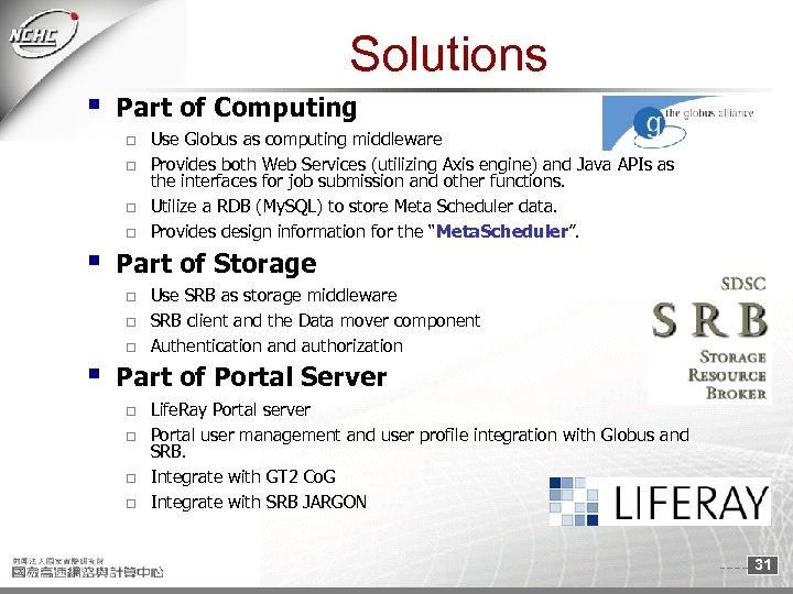Solutions § Part of Computing o o § Part of Storage o o o