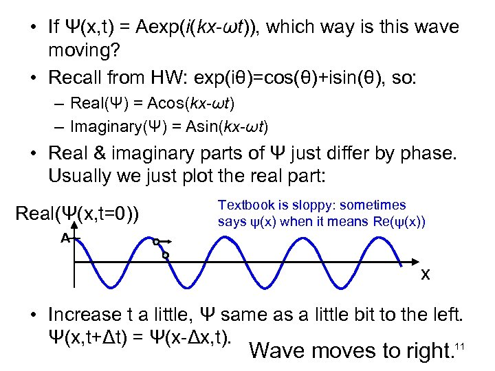 • If Ψ(x, t) = Aexp(i(kx-ωt)), which way is this wave moving? •