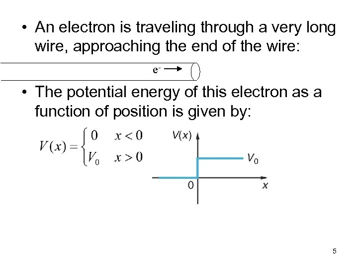 • An electron is traveling through a very long wire, approaching the end