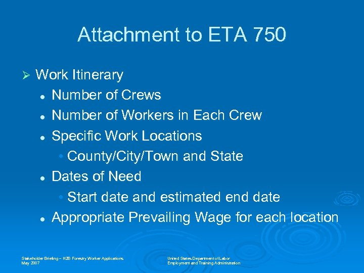 Attachment to ETA 750 Ø Work Itinerary l Number of Crews l Number of