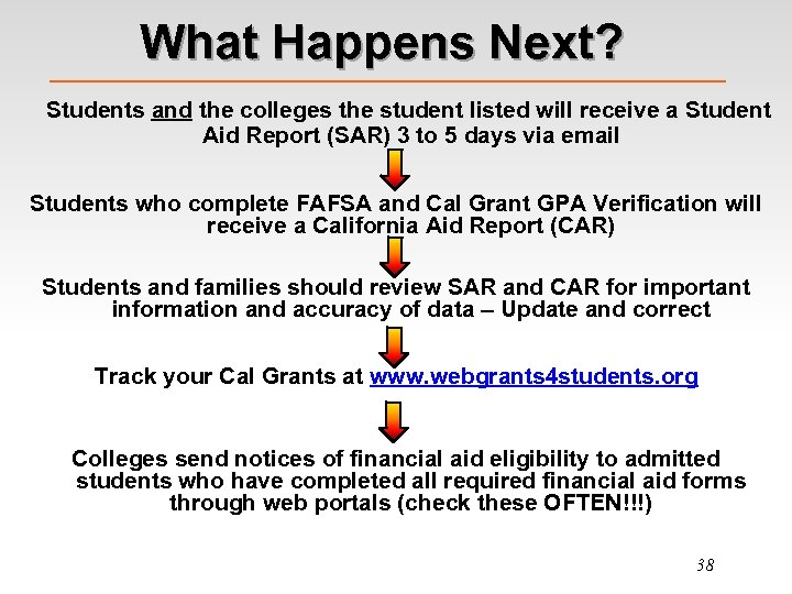 What Happens Next? Students and the colleges the student listed will receive a Student