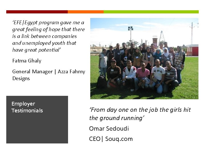 'EFE Egypt program gave me a great feeling of hope that there is a link