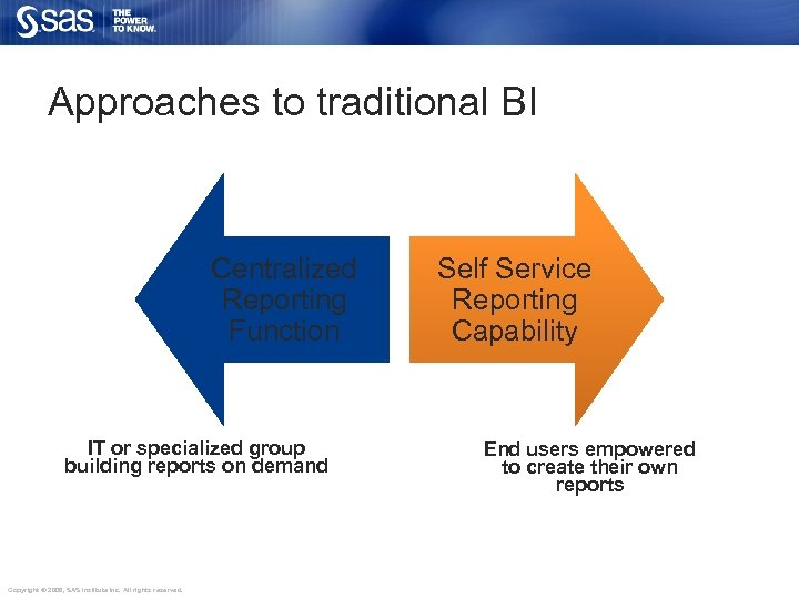 Approaches to traditional BI Centralized Reporting Function IT or specialized group building reports on