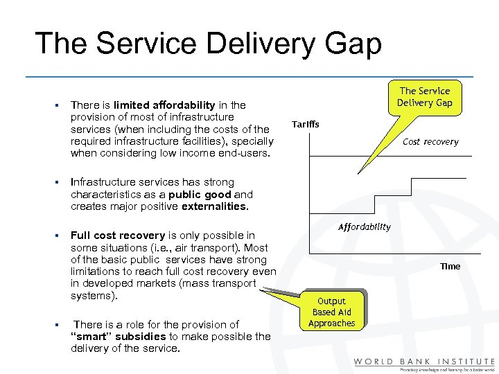 The Service Delivery Gap § § There is limited affordability in the provision of