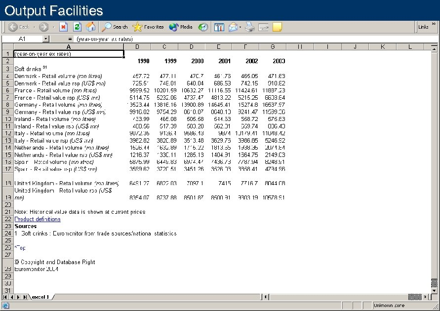 Output Facilities